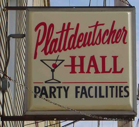 Building sign for Plattdeutscher Hall Party Facilities
