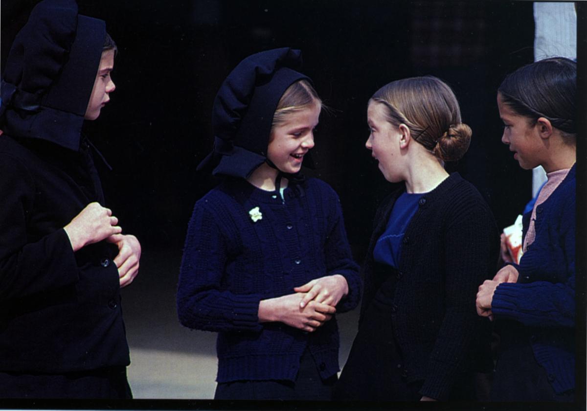 Amish girls speaking